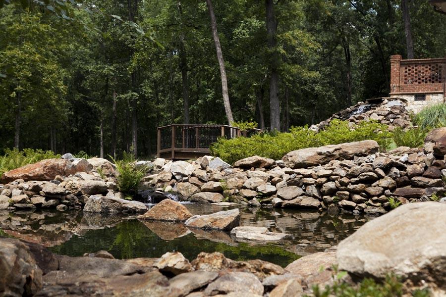 Stone Garden Pond with Garden Bridge