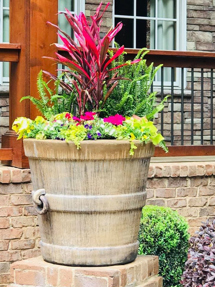 large planter at porch