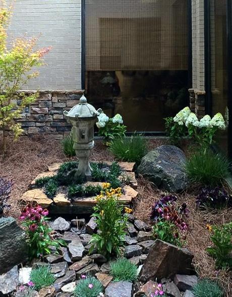 Stone Garden with Japanese Concrete Pagoda Lantern